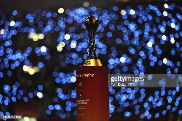 The FIFA Club World Cup trophy is pictured on the pitch before the FIFA Club World Cup 2019 final match between Liverpool FC and CR Flamengo at...
