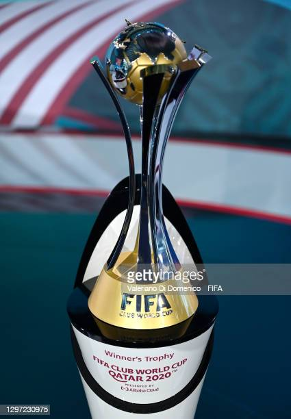 The FIFA Club World Cup Trophy is seen on the stage prior to the FIFA Club World Cup Qatar 2020 Draw on January 19, 2021 in Zurich, Switzerland.