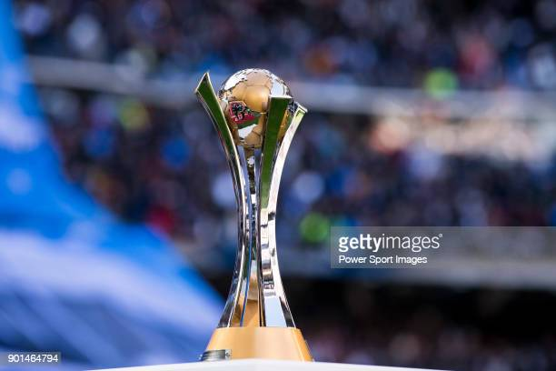 The FIFA Club World Cup trophy is seen prior to the La Liga 2017-18 match between Real Madrid and FC Barcelona at Santiago Bernabeu Stadium on...
