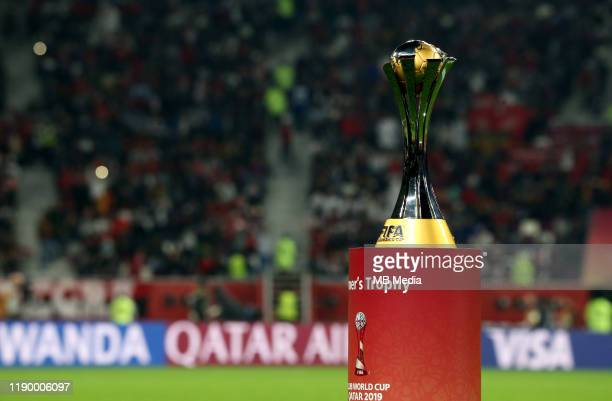 The Fifa Club World Cup Trophy on the field ,Prior the FIFA Club World Cup Final Match between Liverpool FC and CR Flamengo at Khalifa International...