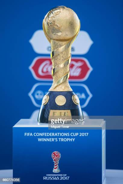The Fifa Confederations Cup is displayed during the visit of the FIFA 2017 Confederations Cup at Nueva Casa del Futbol on March 30 2017 in San Mateo...