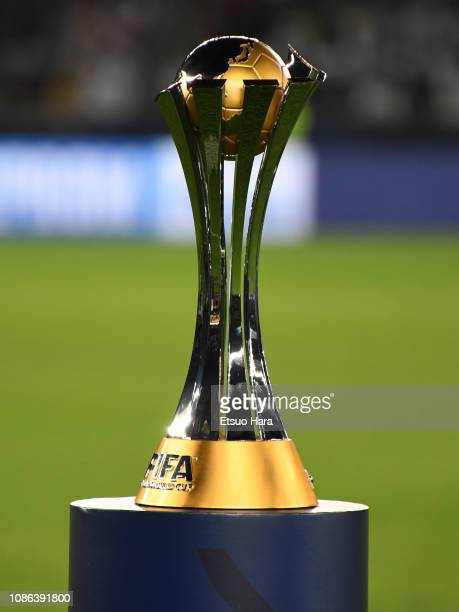The FIFA Culb World Cup trophy is seen prior to the FIFA Club World Cup UAE 2018 Final between Real Madrid and Al Ain at the Zayed Sports City...