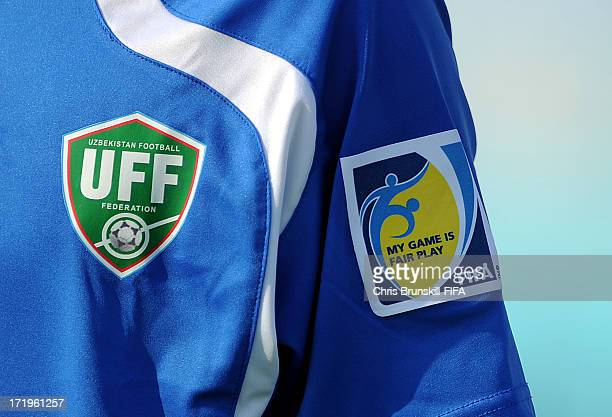 The FIFA fair play logo on an Uzbekistan shirt during the FIFA U20 World Cup Group F match between Ukbekistan and Uruguay at Akdeniz University...