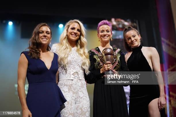The FIFA FIFPro Women's World11 2019 Winners Kelley O'Hara Julie Ertz Megan Rapinoe and Rose Lavelle of United States pose during The Best FIFA...