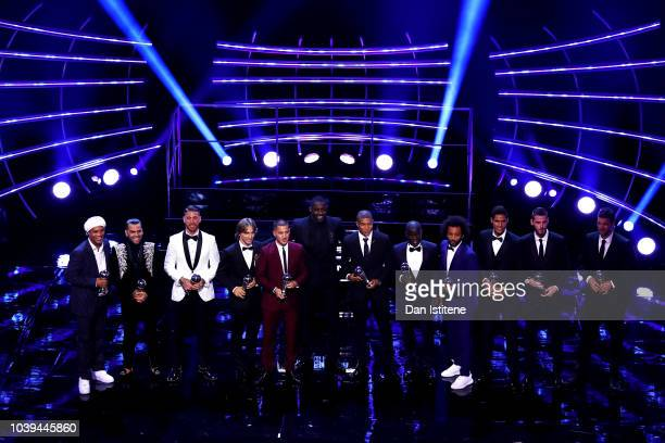 The FIFA FIFPro World 11 pose for a photo on stage during the The Best FIFA Football Awards Show at Royal Festival Hall on September 24, 2018 in...