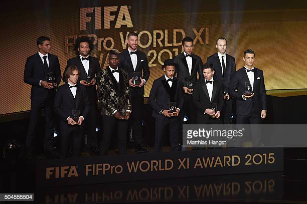 The FIFA FIFPro World XI assembles on stage during the FIFA Ballon d'Or Gala 2015 at the Kongresshaus on January 11 2016 in Zurich Switzerland