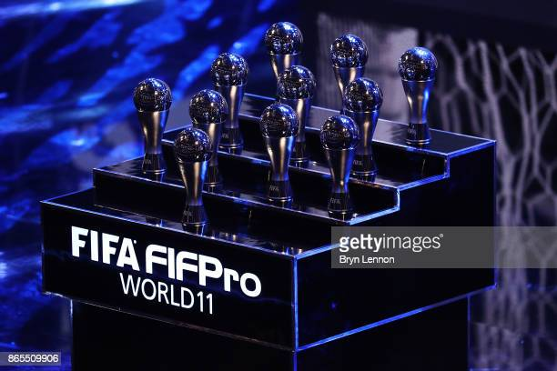 The Fifa FifPro World XI trophy's during The Best FIFA Football Awards Show on October 23 2017 in London England