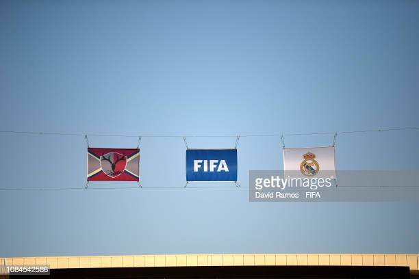The fifa flag and the logo's of the two sides are seen ahead of the FIFA Club World Cup semifinal match between Kashima Antlers and Real Madrid at...