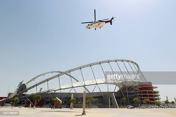 The FIFA inspection group fly over the Khalifa Stadium on board the Royal helicopter for an aerial inspection of proposed World Cup sites at the...