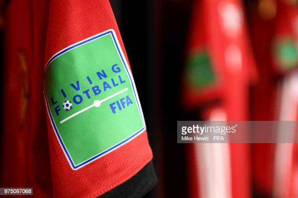 The FIFA Living Football logo is seen in the Egypt dressing room the prior to the 2018 FIFA World Cup Russia group A match between Egypt and Uruguay...