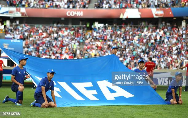 The FIFA logo banner is displayed prior to the 2018 FIFA World Cup Russia group G match between Belgium and Panama at Fisht Stadium on June 18 2018...