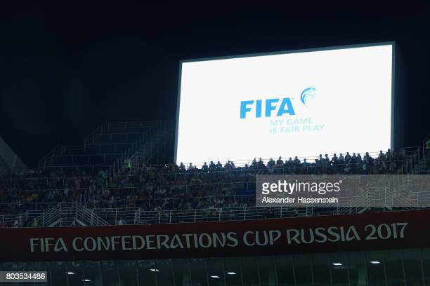 The FIFA logo is displayed during the FIFA Confederations Cup Russia 2017 SemiFinal between Germany and Mexico at Fisht Olympic Stadium on June 29...