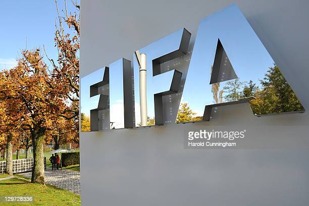 The FIFA logo is seen outside the FIFA headquarters prior to the FIFA Executive Committee Meeting on October 20, 2011 in Zurich, Switzerland. During...