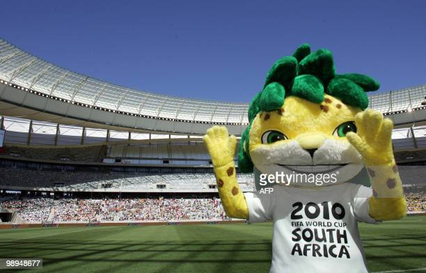The FIFA mascot Palaquinha dances at the Festival of Soccer match between Ajax Cape Town and Santos in the new Cape Town Stadium on January 23 2010...