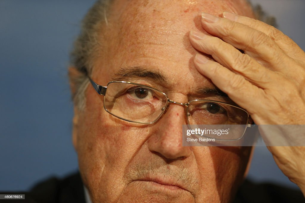 The FIFA President Joseph S Blatter talks to the media during a FIFA press conference at the Sofitel Marrekch on December 19, 2014 in Marrakech, Morocco.