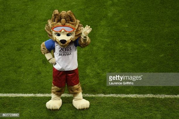 The FIFA Russia 2018 World Cup mascot Zabivaka is seen during the FIFA Confederations Cup Russia 2017 SemiFinal between Portugal and Chile at Kazan...