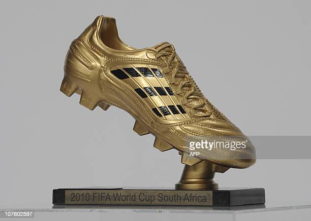The FIFA Soccer World Cup 2010 award Golden Boot pictured ahead of the awarding ceremony at the headquarters of German sportswear maker Adidas in...