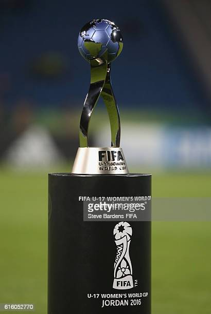 The FIFA U17 Women's World Cup Trophy on its plinth prior to the FIFA U17 Women's World Cup Jordan 2016 Final match between Korea DPR and Japan at...