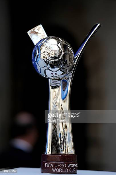 The FIFA U20 Women's World Cup trophy during the FIFA U20 Women's World Cup draw on April 22 2010 in Dresden Germany
