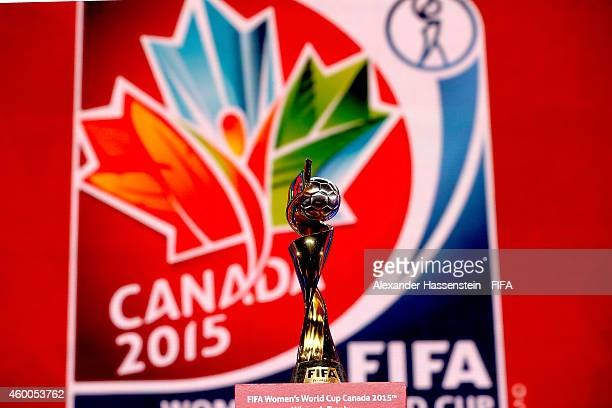 The FIFA Woman`s World Cup Trophy is displayed during the Final Draw for the FIFA Women's World Cup Canada 2015 at Canadian Museum of History on...