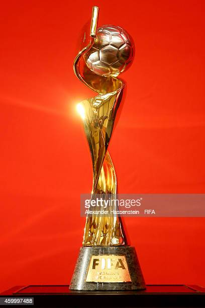 The FIFA Woman`s World Cup Trophy is displayed during the official PreDraw press conference at The Westin Hotel on December 5 2014 in Ottawa Canada