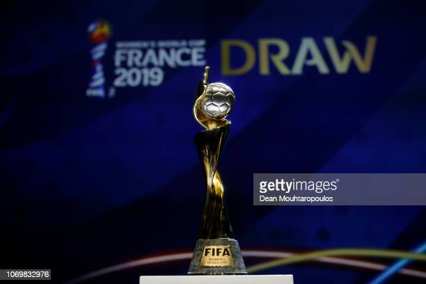 The FIFA Women's World Cup on display during the FIFA Women's World Cup France 2019 Draw at La Seine Musicale on December 8 2018 in Paris France