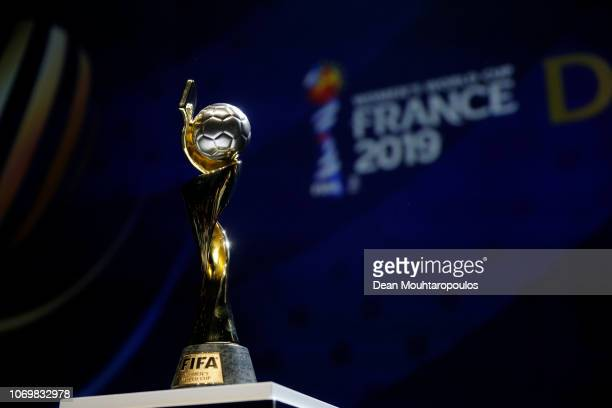 The FIFA Women's World Cup on display during the FIFA Women's World Cup France 2019 Draw at La Seine Musicale on December 8, 2018 in Paris, France.