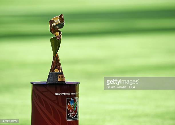 The FIFA Women's World Cup trophy at the FIFA Women's World Cup Final between USA and Japan at BC Place Stadium on July 5 2015 in Vancouver Canada