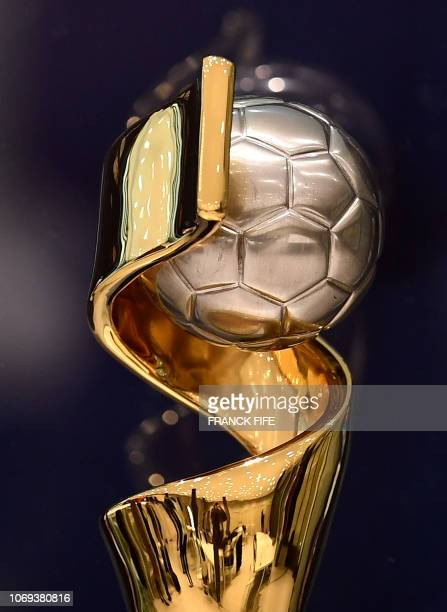 The FIFA Womens World Cup trophy is displayed on December 7 2018 in BoulogneBillancourt near Paris