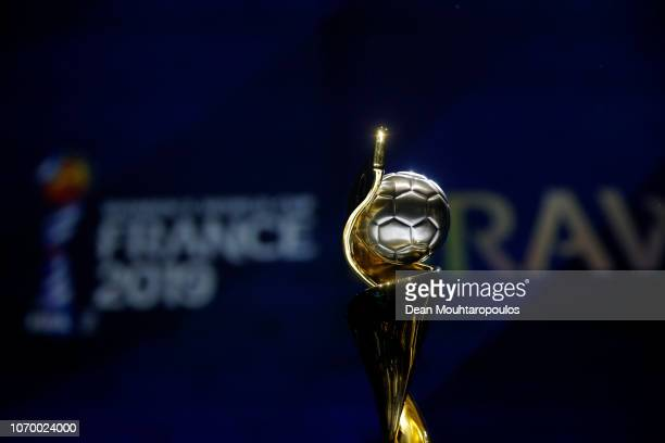 The FIFA Women's World Cup trophy on display during the FIFA Women's World Cup France 2019 Draw at La Seine Musicale on December 8 2018 in Paris...