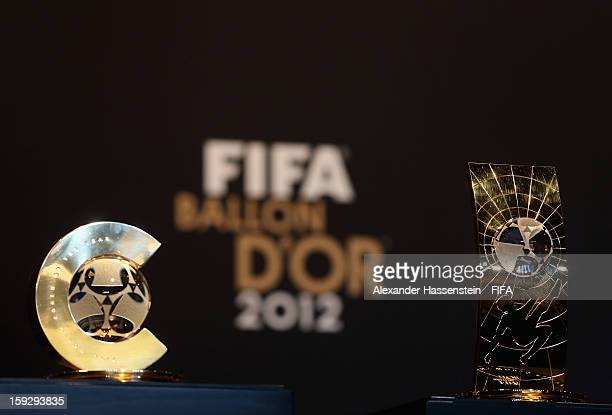 The FIFA Women's World Player of the year and World Coach of the Year on display prior to the FIFA Ballon d'Or Gala 2012 at the Kongresshaus on...