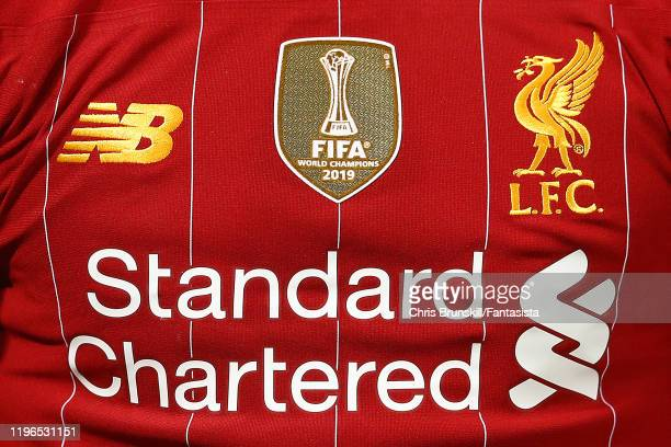 The FIFA World Champions badge is seen on a Liverpool shirt during the Premier League match between Liverpool FC and Wolverhampton Wanderers at...