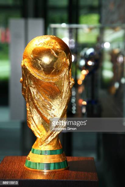 The FIFA world championship tropy is displayed at the FIFA headquarters on July 8 2009 in Zurich Switzerland