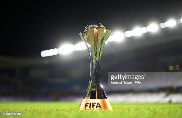 The FIFA World Club Cup trophy after the FIFA Club World Cup UAE 2018 match between ES Tunis and Al Ain on December 15 2018 in Al Ain United Arab...