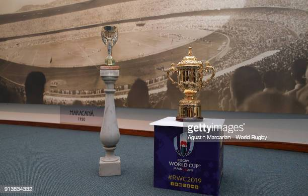 The FIFA World Cup Jules Rimet won by Uruguay in 1930 and 1950 and the Webb Ellis Cup are seen at Football Museum during day 3 of Rugby World Cup...