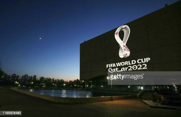 The Fifa World Cup Qatar 2022 logo is projected on the facade of the Algiers Opera House in the Algerian capital on September 3, 2019.