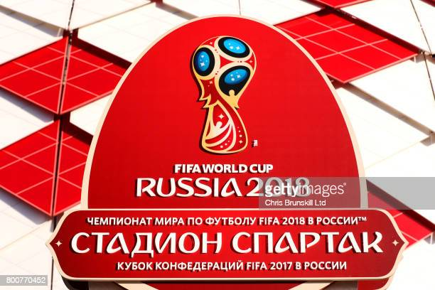 The FIFA World Cup Russia 2018 logo is seen outside the stadium ahead of FIFA Confederations Cup Russia 2017 Group B match between Chile and...