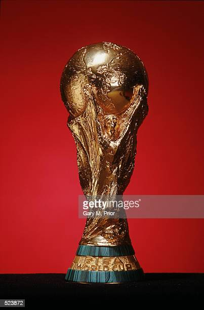 The FIFA World Cup trophy during the Adidas 2002 FIFA World Cup commercial filming held in Heyford Oxfordshire England in January 2002
