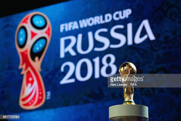 The FIFA World Cup trophy is displayed ahead of the preliminary draw of the 2018 FIFA World Cup in Russia at Konstantin Palace on July 24 2015 in...