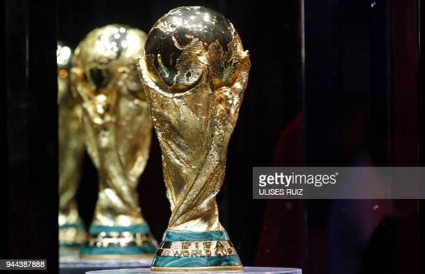 The FIFA World Cup trophy is displayed at the Exhibitor Centre in Guadalajara Jalisco State Mexico on April 10 2018 as part of the FIFA World Cup...