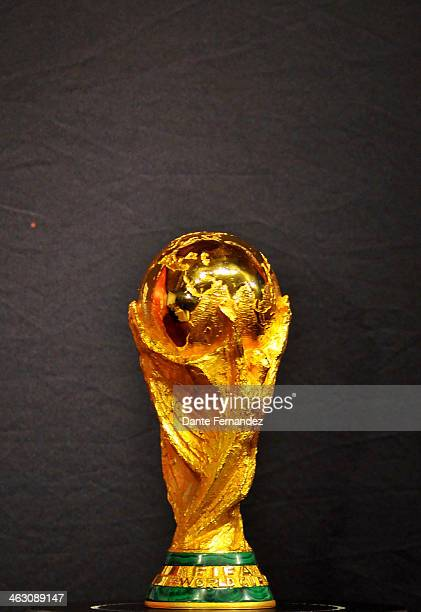 The FIFA World Cup Trophy is displayed during and event of presentation as part of the FIFA World Cup Trophy Tour that has now arrived to Uruguay at...
