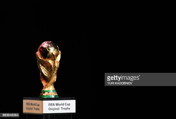 The FIFA World Cup trophy is displayed during the 2018 FIFA World Cup football tournament final draw at the State Kremlin Palace in Moscow on...