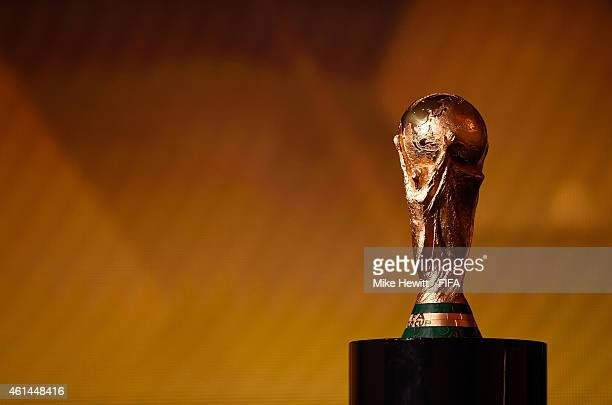 The FIFA World Cup Trophy is displayed during the FIFA Ballon d'Or Gala 2014 at the Kongresshaus on January 12 2015 in Zurich Switzerland