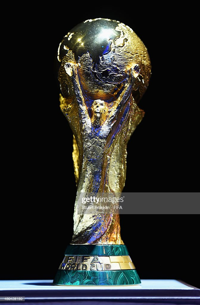 The FIFA World Cup trophy on display during the 64th FIFA Congress at the Transamerica Expo Center on June 11, 2014 in Sao Paulo, Brazil.