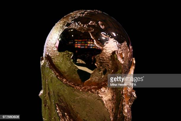 The FIFA World Cup trophy on display during the 68th FIFA Congress at the Moscow Expocentre on June 13 2018 in Moscow Russia