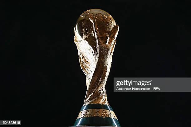 The FIFA World Cup Trophy prior to the FIFA Ballon d'Or Gala 2015 at the Park Hyatt hotel on January 10 2016 in Zurich Switzerland