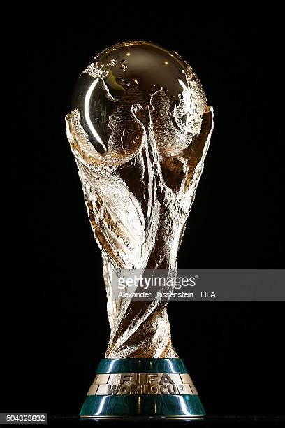 The FIFA World Cup Trophy prior to the FIFA Ballon d'Or Gala 2015 at the Park Hyatt hotel on January 10, 2016 in Zurich, Switzerland.