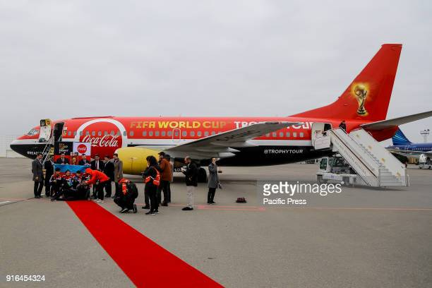 The FIFA World Cup Trophy Tour plane arrives at Heydar Aliyev Airport during the FIFA World Cup Trophy Tour