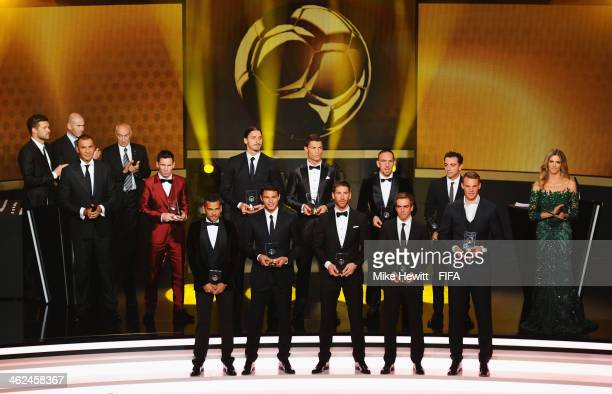 The FIFA/FIFPro World XI for 2013 receive their awards during the FIFA Ballon d'Or Gala 2013 at the Kongresshaus on January 13 2014 in Zurich...