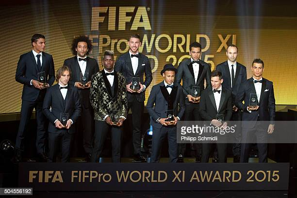 The FIFA/FIFPro World XI for 2015 receive their awards during the FIFA Ballon d'Or Gala 2015 at the Kongresshaus on January 11 2016 in Zurich...